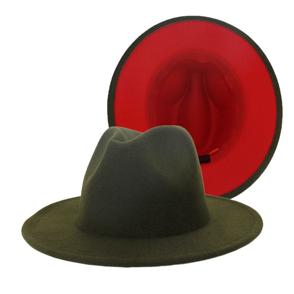 Army Green Inner Red Patchwork Vintage Fedora