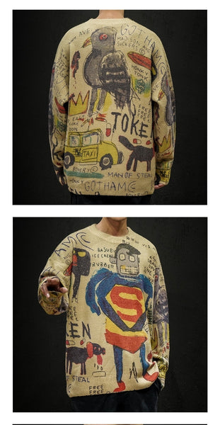 Winter Superman Print Knitted Sweater