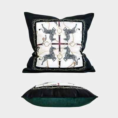 Modern Animal Collection Luxury Zebra Print Soft Velvet Cushion