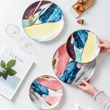 Pink and Blue Abstract Serving Plates
