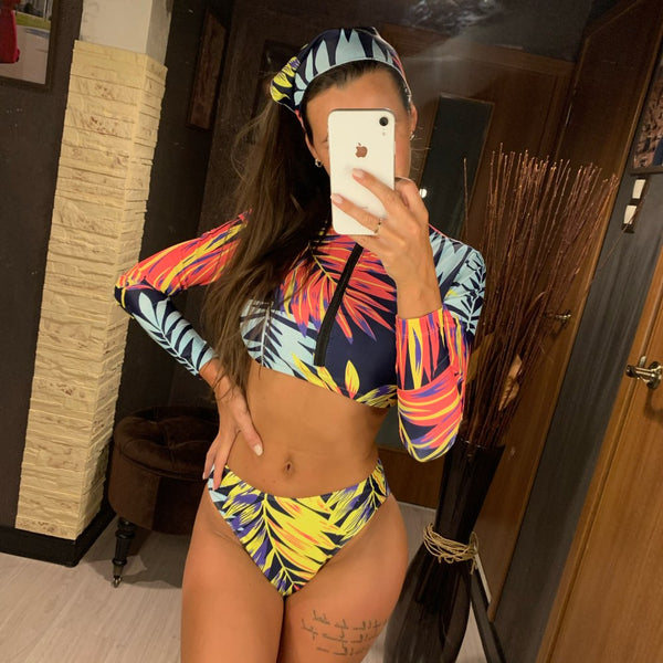 Multi Pattern Long Sleeve Bikini