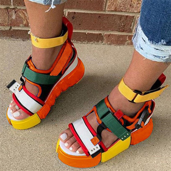 Multi Colored Platform Wedge Sandals