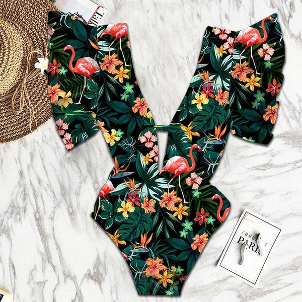 Floral Ruffle One Piece Swimsuit