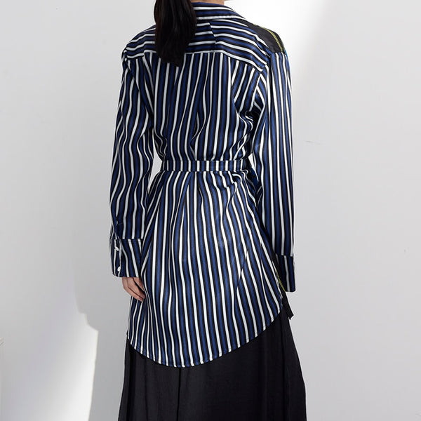 Turn-down Collar Striped Wrap Top