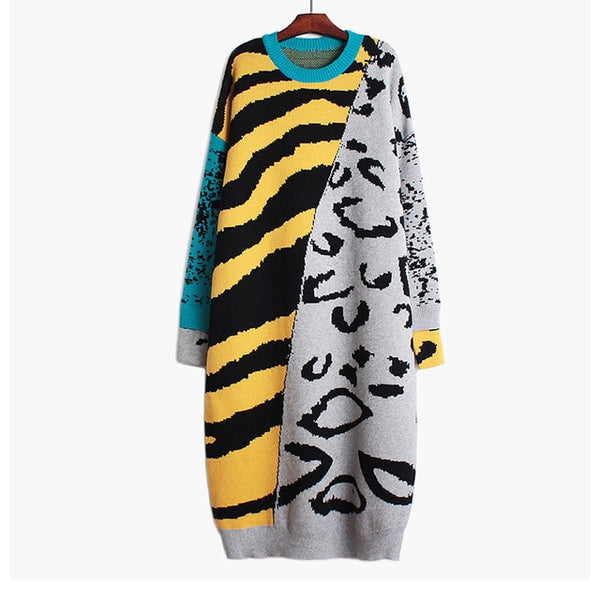 Oversize Leopard Knitted Dress