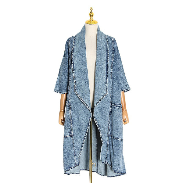 Vintage Denim Women Windbreaker Trench Coat