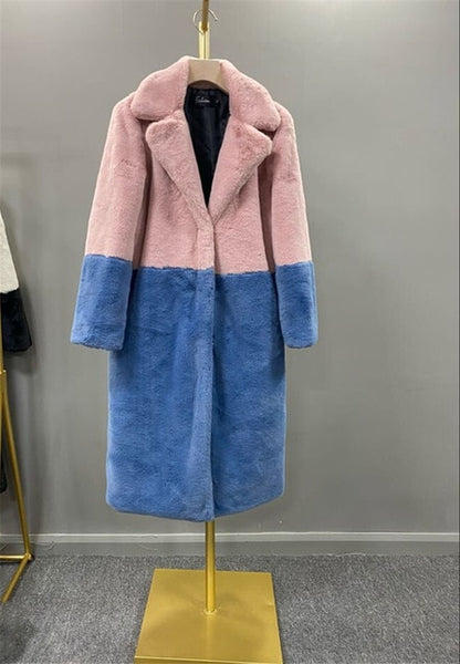 Two Tone Faux Coat