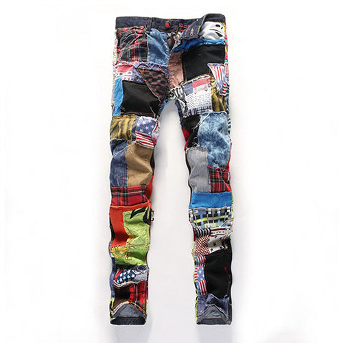 Men's Multicolor Patchwork Straight Tube Full Length Button Jeans