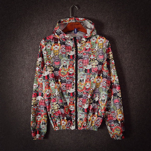 Monster Print Hooded Windbreaker f