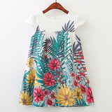 Sleeveless Floral leaf Printed Princess Dress