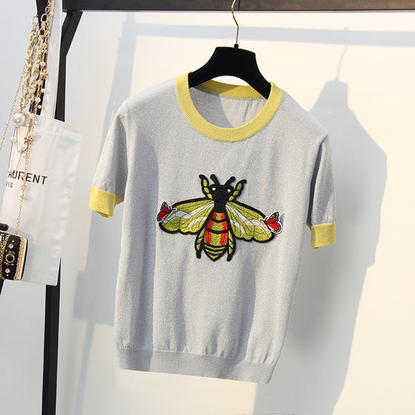 Shiny Butterfly and Bee Embroiled Sweater Tee