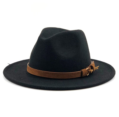 Wool Fedora With Brown Strap