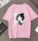 Summer Girls Print Short Sleeve O Neck Cotton Spandex Women Top