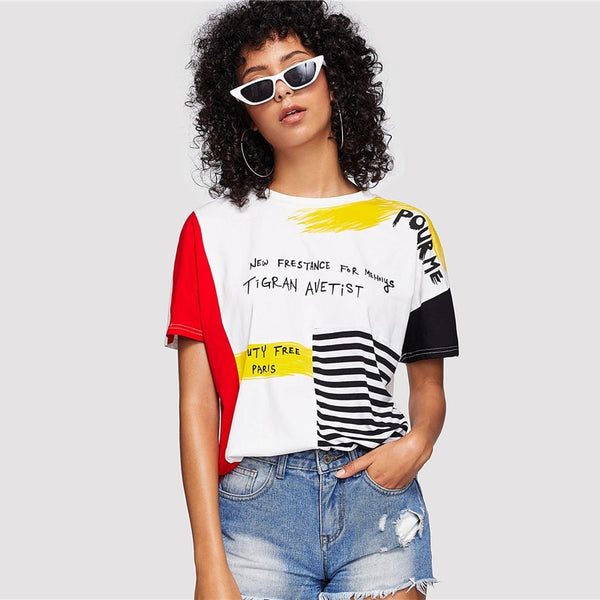 Print Striped Brush Tee