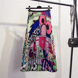 New-Comic Cartoon Pattern  Pleated Skirt