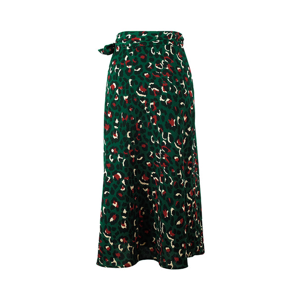 Vintage Leopard Print Long Skirt