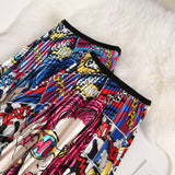Comic Chick Pop Art Long Pleated Skirt