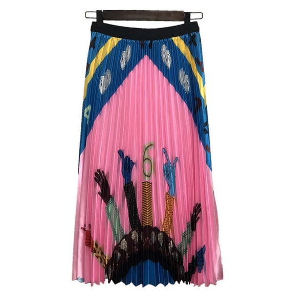 All Hands On Pleated Long Skirt