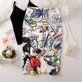 Sketched Mickey Pencil Skirt
