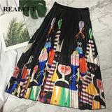 Characters Gather A-Line Mid-Calf Skirt