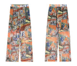 Vintage Print High Waist Wide Leg sheer Pants