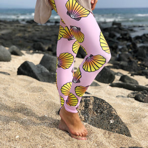 Full Length Pink Sunrise Shell Leggings