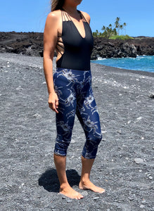 Capri Navy Blue A'ama Crab Leggings