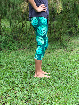 Capri Green Monstera Leggings