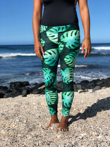 Full Length Black Monstera Leggings