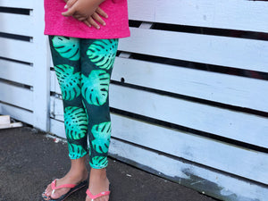 Keiki Black Monstera Leggings