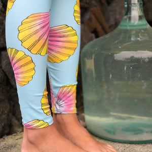 Full Length Turquoise Sunrise Shell Leggings
