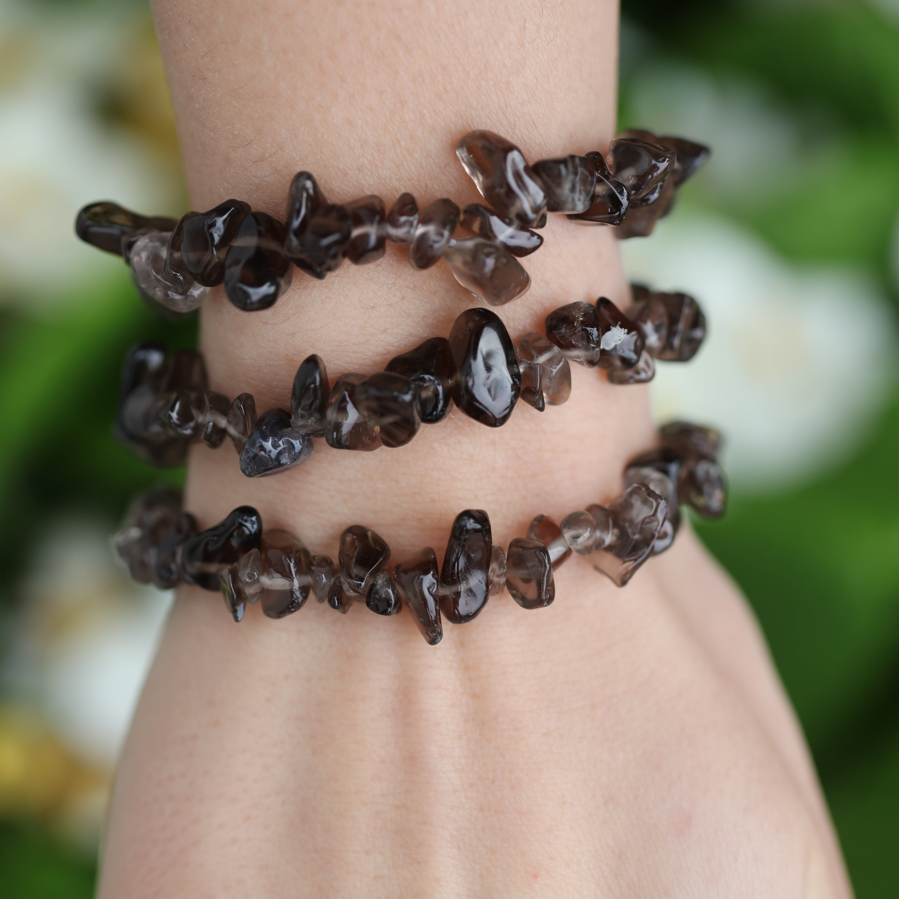 Natural Smoky Quartz  Chip Bracelet