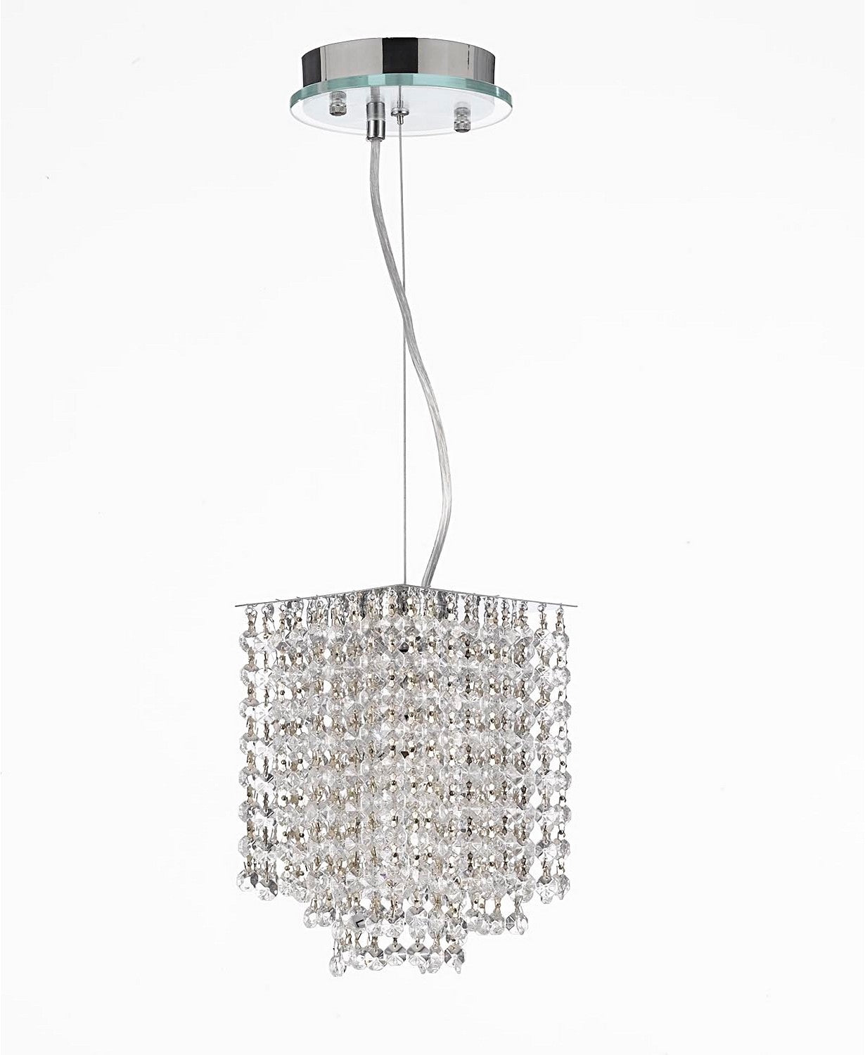 Modern 1-Light Crystal Contemporary Pendant Chandelier