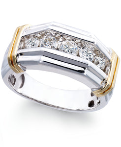 Men's Diamond (1 ct. t.w.) Ring in 10k White and Yellow Gold