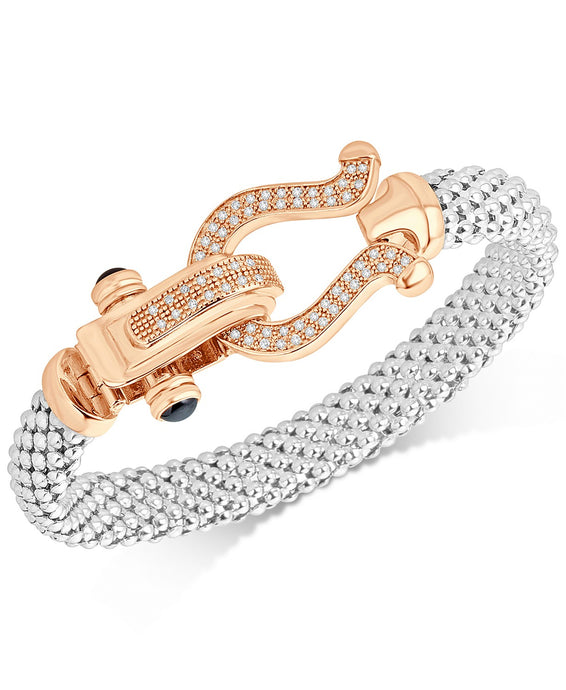 Diamond Dew Drop Mesh Horseshoe Bracelet