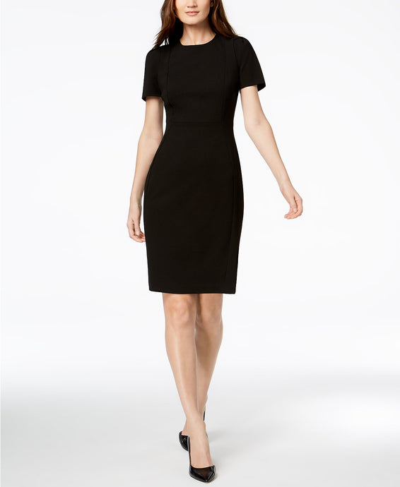 Seamed Scuba Crepe Sheath Dress