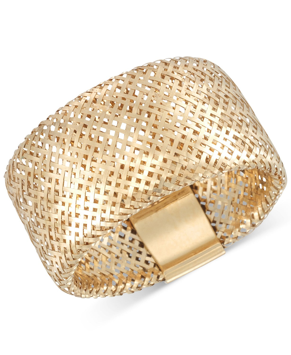 Openwork Mesh Stretch Ring in 14k Gold, Made in Italy