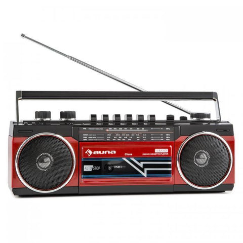 Duke Radio Cassette Rétro Boombox USB MP3 SD Bluetooth Tuner FM Rouge - Rouge