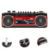 Duke Radio Cassette Rétro Boombox USB MP3 SD Bluetooth Tuner FM Rouge
