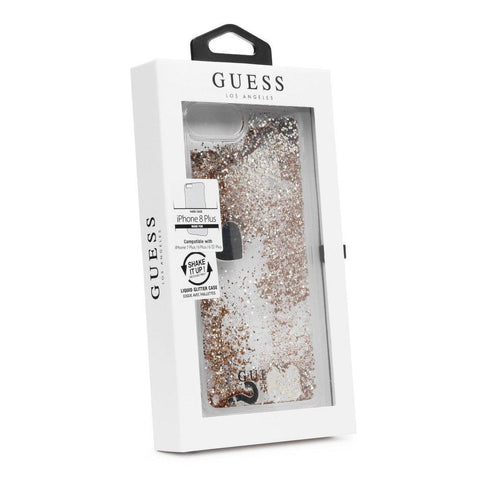 Coque étui GUESS Raspberry Hard Glitter Hearts pour iPhone 8 Plus/7 Plus - Gold