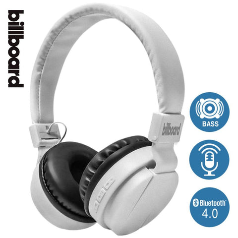 Casque Audio Bluetooth Stéréo Pliable Sans Fil Billboard - Blanc