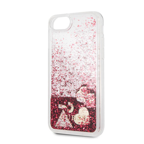 Coque étui GUESS Rigide Framboise Glitter Hearts pour iPhone 8/7/6S - Red