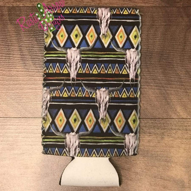 Aztec Bull Bottle or Can Slim Koozie - Koozie