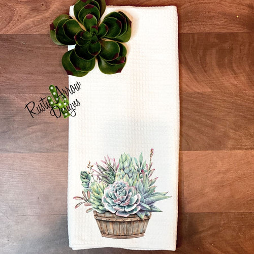 Baskets of Succulents Waffle Weave Tea Towel
