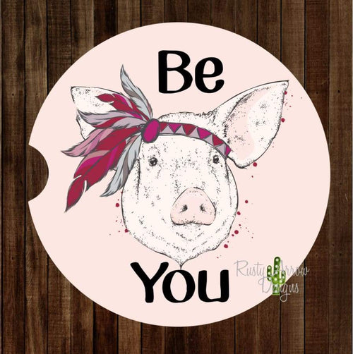 Be You Pink Headband Pig Set of 2 Car Coasters - Car Coasters