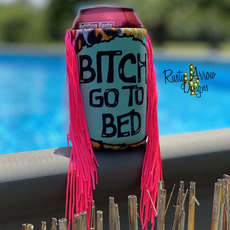 Pink and Cheetah Aztec Fringe Bottle or Can Slim Koozie