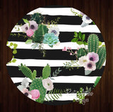 Black and White Stripe Cactus S Set of 2 Car Coasters - Car Coasters