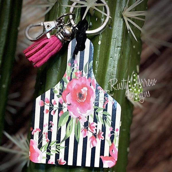 Black and White Stripe Pink Roses Livestock Ear Tag Key Chain