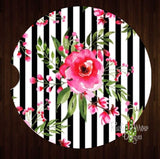 Black and white stripe with pink flowers Set of 2 Car Coasters - Car Coasters