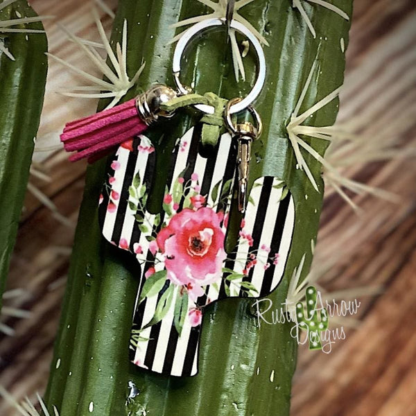 Black and White Stripe with Pink Rose Cactus Key Chain